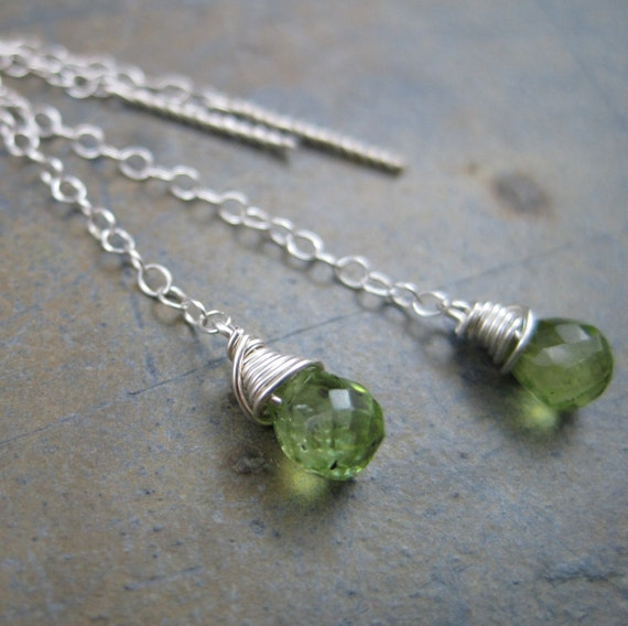 Peridot Briolettes on Sterling Chain Ear Threads