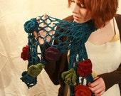 Crocheted Chenille Flower Trellis Scarf