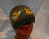 Duck Hat, Hand Knit Drunken Duckies Beanie