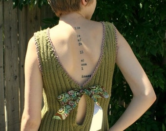 Sweet Pea Green Backless Cut Out Tank with Keyhole
