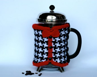 Hand Knit Houndstooth Check Vest French Press Coffee Cozy