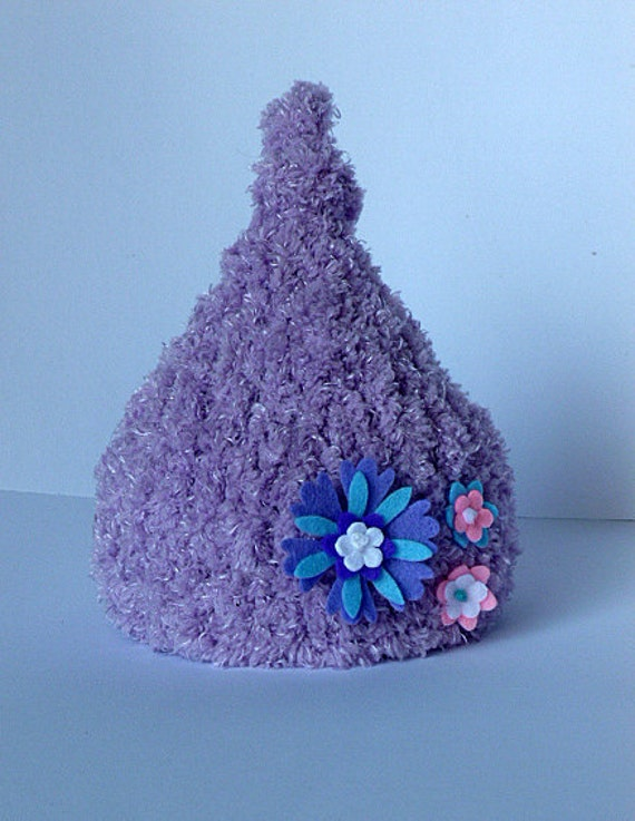 Hand Knit Fuzzy Chenille Baby Beanie in Lilac with Flower Embellishments