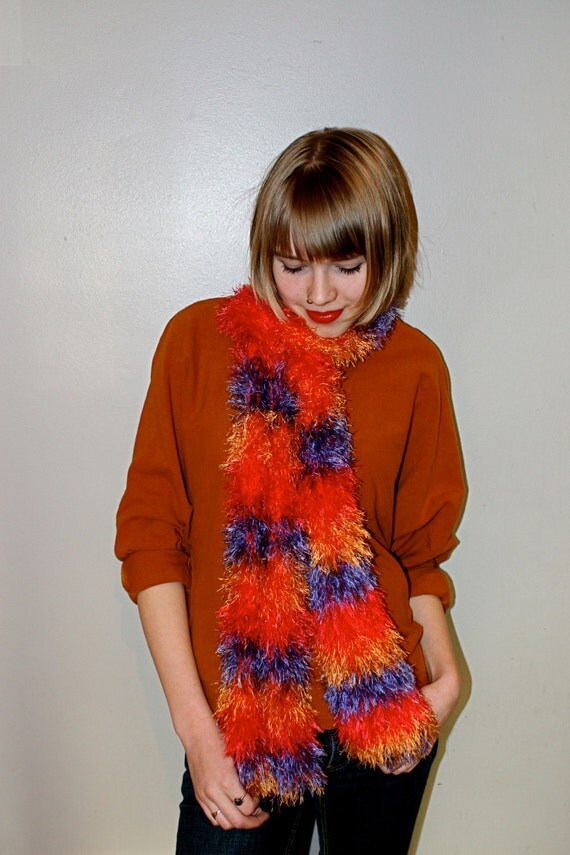 "Retro Fashion Knit ""Shades of the 80s"" Striped Boa Scarf"
