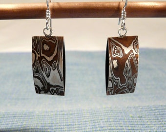 Mokume Gane and Sterling Earrings