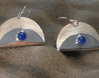 """Sterling Silver and Blue Onyx """"Taco""""  Earrings"""