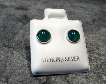 Contemporary Sterling Silver and Green Onyx Earring Studs