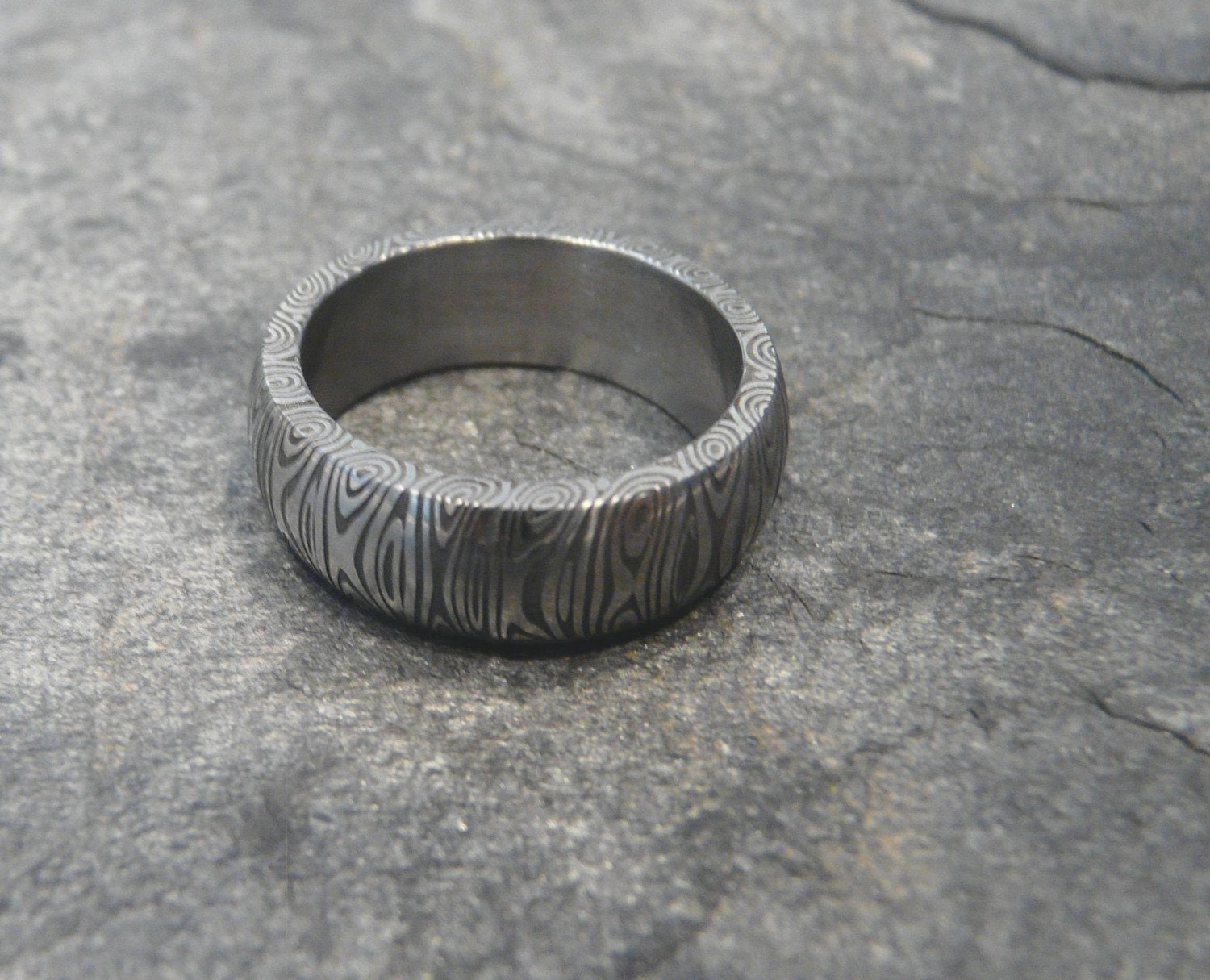 Damascus Stainless Steel Ring Wedding Band Hand Made