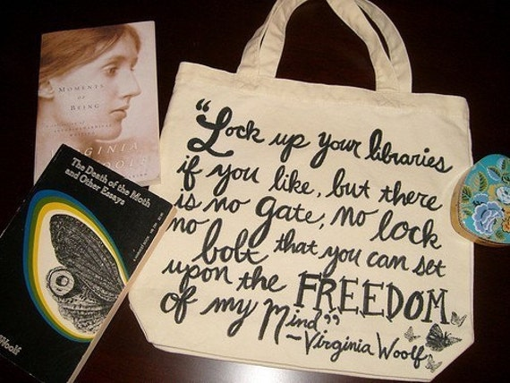 Virginia Woolf canvas tote bag with butterflies