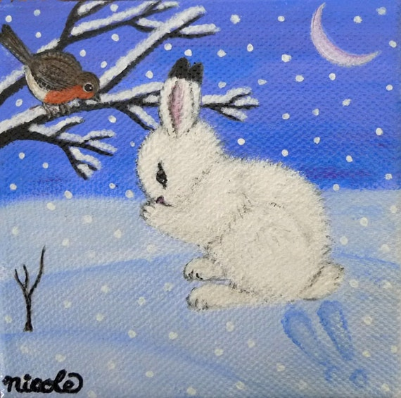 Original Painting Snow Bunny Rabbit with litte Robin Bird Art Easter