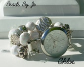 """Double Stranded Interchangeable Cute Little """"Chloe"""" beaded watch bracelet/band lovely white and silver beads"""