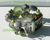 """Double Stranded Silver and lime green """"Jessica"""" with silver beads, silver connectors and a touch of black,"""