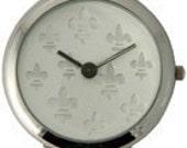 Fleur De Lis, Round, Silver & White, Interchangeable, Watch Face