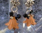 Orange and Black, Crystal and Flower Dangle Earrings