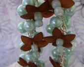 Aqua Blue Dangle Earrings with Brown Flowers, Glass Pearls