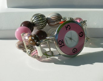 """Double Stranded Interchangeable beaded watch bracelet - band, Hot Little """"Heather"""" for the lovers of pink"""