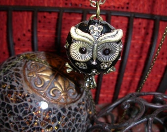 Enamel and Rhinestone Owl Pendant, he sparkles right down to his tail feathers