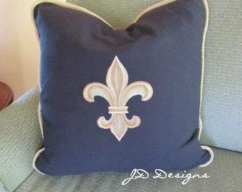 Fleur de Lis (Black Duck Cloth) - Pillow Cover Only-JD Designs