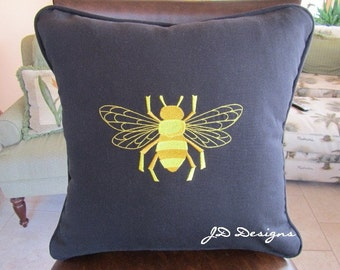 Napoleonic Bumble Bee (Black Duck Cloth) - Pillow Cover Only-JD Designs