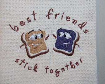 Best Friends Stick Together - MicroFiber Waffle Weave Kitchen Hand Towel