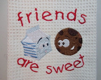 Friends are Sweet - MicroFiber  Waffle Weave Kitchen Hand Towel