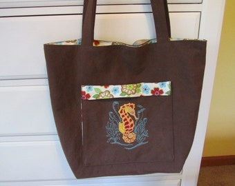 SALE - Embroidered Tote (Daily Carryall) - Only Totes by JD Designs