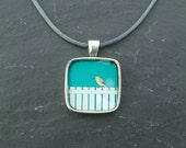 Yellow Warbler Silver Plated Pendant Necklace