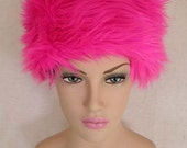 Hot Pink Faux Fur Hat, Pink , Faux fur, winter hat, warm hat. ski hat. black