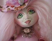 OOAK handmade sculptured fantasy cloth doll shabby chic pink roses magic witch