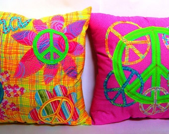 16 x 16 Peace Sign Cushions - Personalized Throw Accent Pillows, Custom Made to Match any Decor, You Choose the Colors - Set of Two Square