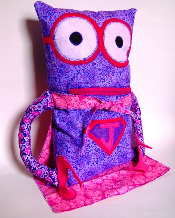 Superhero Robot Pajama PJ Sleepover Pillow with Zipper Pocket - Custom with Childs Initial and Two Favorites ex:Barbie and Cinderella