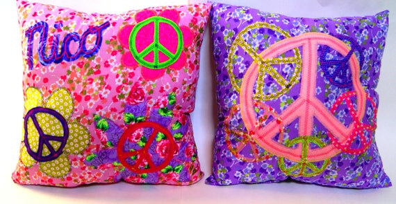 16 x 16 Peace Sign Pillows - Personalized Accent Throw Pillows, Custom Made to Match any Decor, You Choose the Colors - Set of Two Square