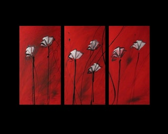 3 abstract cnavs painting red  poppies