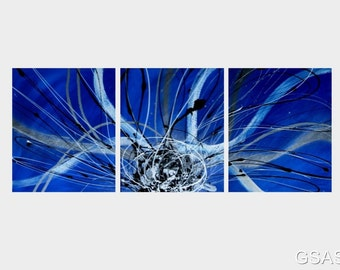 3 abstract canvas painting blue black silver white