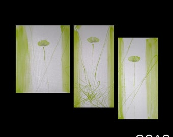 3 ABSTRACT CANVAS PAINTING poppies Artwork wall art