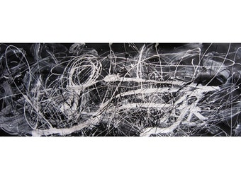 """ABSTRACT CANVAS PAINTING 200cm x 75cm 78"""" x 29"""" black and white"""