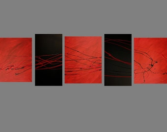 5 Aabstract canvas painting  red black