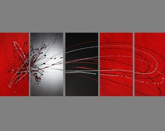 5 ABSTRACT CANVAS PAINTING red black silver Artwork wall art