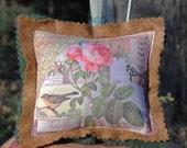 Pin Cushion - Birds and Butterflies Collage Pin Cushion - Pin Pillow - Custom Printed Fabric