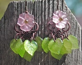 Flower and Leaf Chandelier Earrings - Pink and Green Chandelier Earrings - Spring Dangle Earrings - Pink Chandeliers - R60