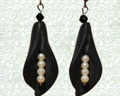 Black Lily Earrings - Black Drop Calla Lily Earrings with Pearl Accents - Cyber Monday Sale