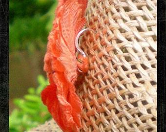 Flower Earrings - Orange Earrings - Vintage Velvet Millinery Flower Fall Earrings - Faux Clip-on Earrings - R67