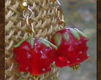 Dangle Earrings - Lampwork Earrings - Vintage Glasswork Berry Bead - Wild Raspberry Earrings - Handmade Glass Raspberry Beads