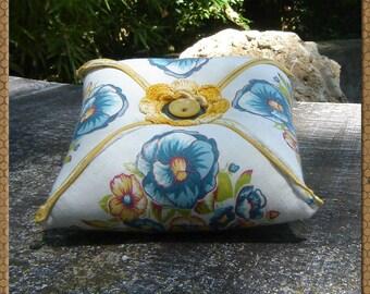 Pincushion - Floral Pincushion - Large Pin Pillow - Jumbo Vintage Floral Handkerchief Pincushion - Turquoise and Golden Yellow Pincushion