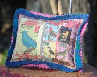 Pin Cushion - Bluebird of Happiness Pincushion - Custom Collage Fabric Design - Pin Pillow