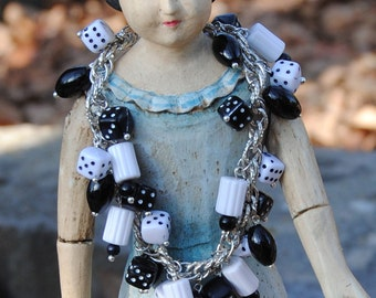 Charm Bracelet - Dice BRacelet - Las Vegas Beaded Charm Bracelet - Eco Bling in Black and White - Upcycled Jewelry - R42