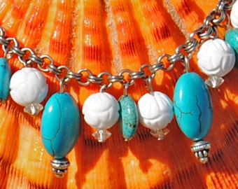 Beaded Charm Bracelet - Chunky Turquoise and Vintage White Bead Charm Bracelet - Turquoise and White  - Upcycled Vintage Beads - P44
