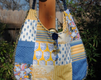 Yellow and Blue Provence Goes a Little Shabby Chic-Shoulder Bag with Blue and Yellow Lilly Dangles - Black Friday Sale