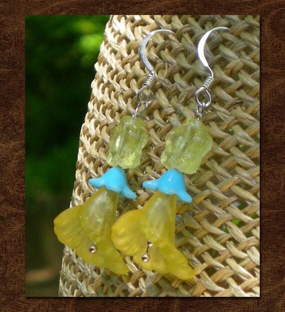 Yellow Trumpet Flower Earrings
