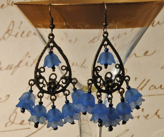 Spring Bluebell Chandelier Earrings - Blue on Blue Swing Earrings