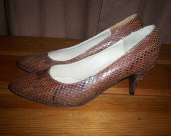 Vintage Brown Leather Reptile Skin Shoes